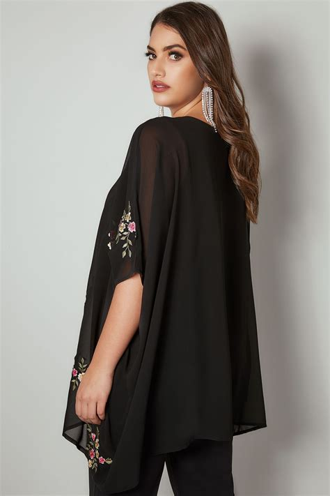 Find By Address Only For Free Yours Black Floral Embroidered Chiffon Cape Top Plus Size 16 To 32