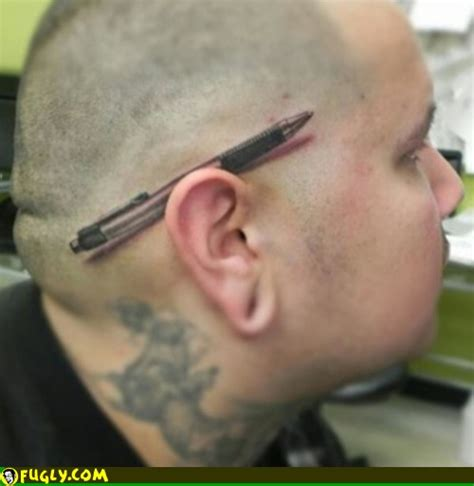 tattoo get pen pen behind the ear tattoo fugly