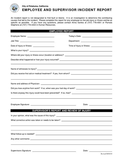 injury incident report form template best photos of employee injury incident report forms