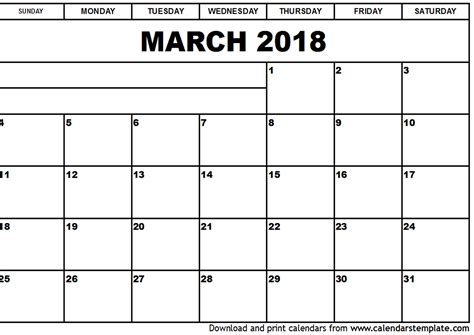 printable calendar 2018 march march 2018 calendar template