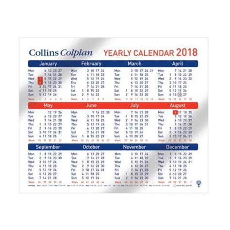 Calendar 2018 Cheap Collins Colplan Cds1 2018 Year Calendar Cds1 2018