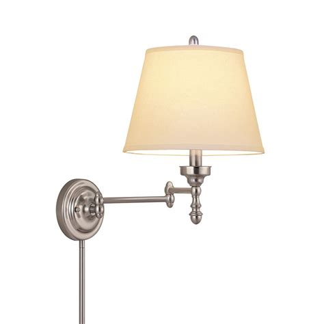 swing arm light wall mount shop allen roth 15 62 in h brushed nickel swing arm