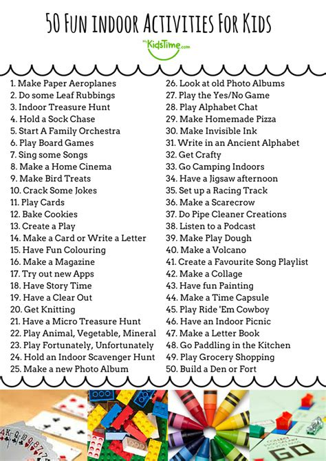 things to do in s day 50 indoor activities for checklist