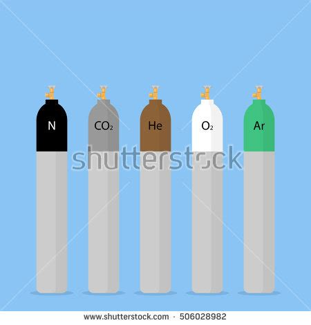 gas color gas cylinder danger gas oxygen tank stock vector 182917613