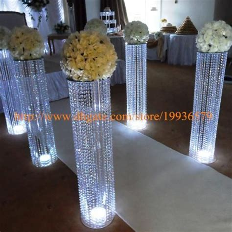 diy decorations led 8 pcs lot 3fttall acrylic wedding decoration walkway pillars pedestals columns light
