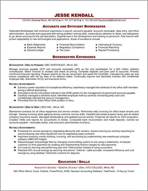excellent bookkeeper resume sle bookkeeper resume sle summary bookkeeping spreadsheet spreadsheet sl bookkeeper resume