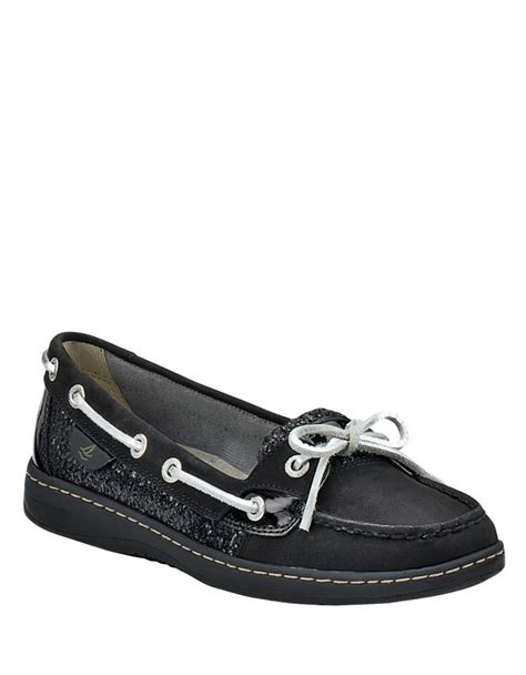 sperry top sider angelfish black leather glitter boat