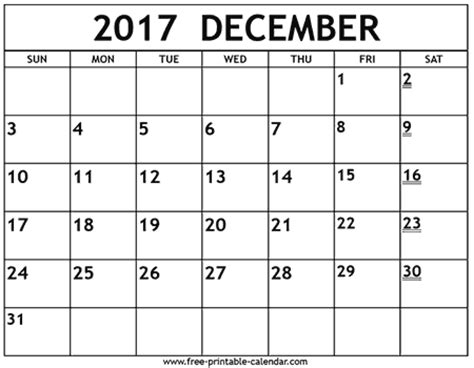 printable calendar page december 2017 printable 2017 december calendar