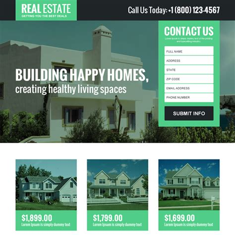 Real Estate Landing Page Design Templates For Real Estate Agents And Broker Business Conversion Real Estate Landing Page Template Free