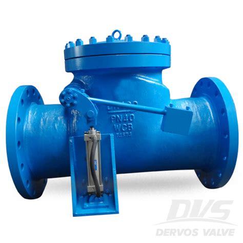 swing valve din swing check valve with cylinder dn400 pn40 dervos