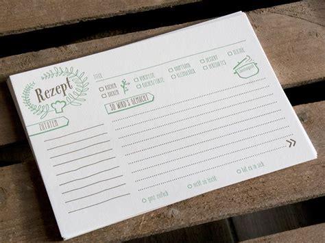 rezeptkarten vorlagen rezeptkarten 10er set letterpress handgedruckt