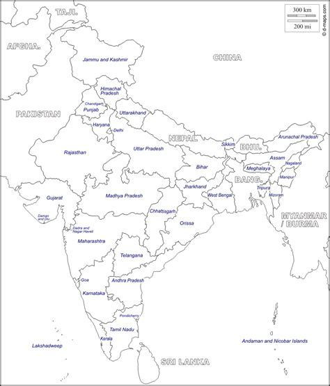 India Political Map Outline With States by Outline Map India States