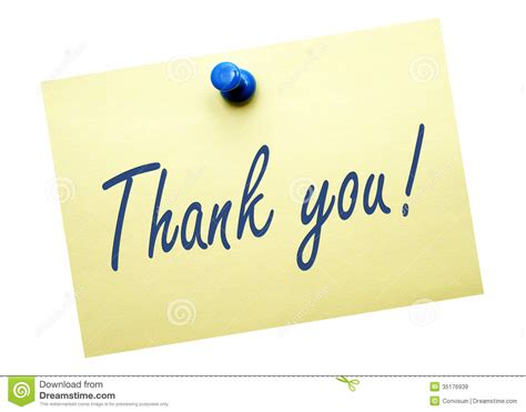 Thank You Note For It Thank You Yellow Post It Note Royalty Free Stock Images Image 35176939