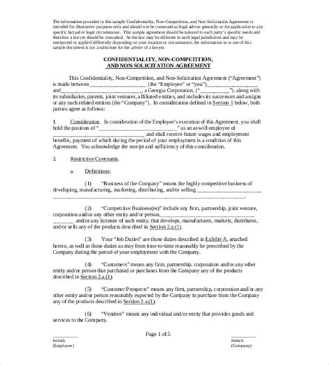 employee non compete agreement template non compete agreement template 10 free word excel pdf