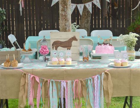 horse burlap pony floral pink teal cowgirl third