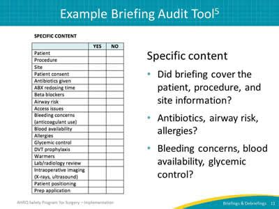 section 11 audit tool auditing your briefings and debriefings process