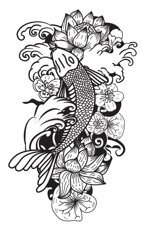 tattoo pen vector beautiful doodle art koi carp tattoo design stock vector