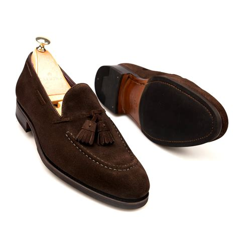 brown tassel loafers tassel loafers in brown suede carmina