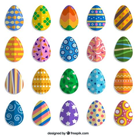 colorful easter eggs colorful easter egg collection vector free