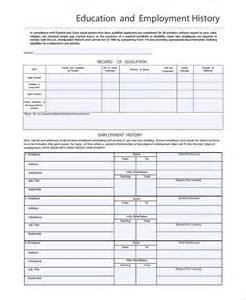 history template word sle employment history template 9 free documents