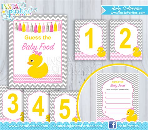Guess Ruber rubber ducky baby shower guess the baby food