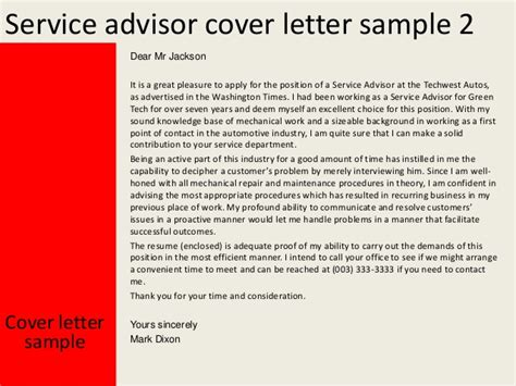 Parts Advisor Cover Letter by Service Advisor Cover Letter