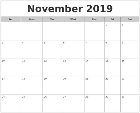 printable calendar for 2019 image gallery november 2019