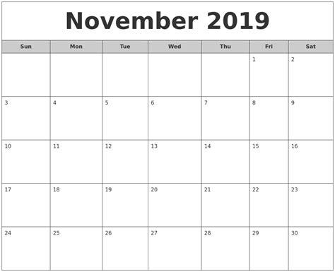 printable monthly calendar 2019 image gallery november 2019
