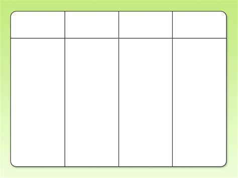 Galerry printable blank 4 column chart