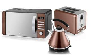 Toaster Kettle And Microwave Set Swan Copper Kitchen Appliance Set Groupon
