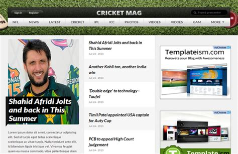 cricket templates for blogger cricket mag blogger template templateism