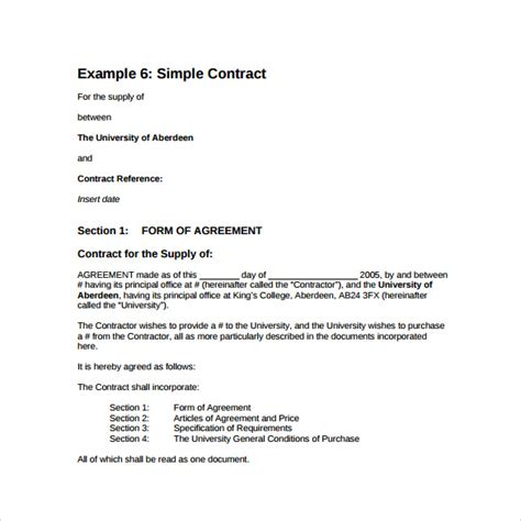 14 Basic Contract Templates Sles Exles Format Sle Templates Basic Contract Template