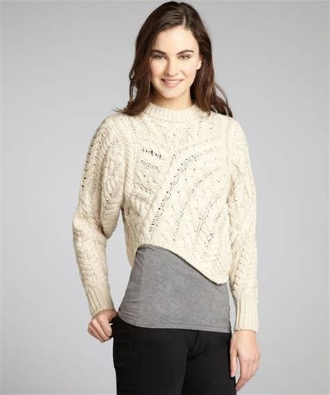 cropped cable knit sweater marant ecru cable knit wool asymmetrical cropped