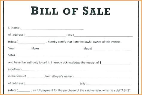 example vehicle bill of sale template with notary templatezet