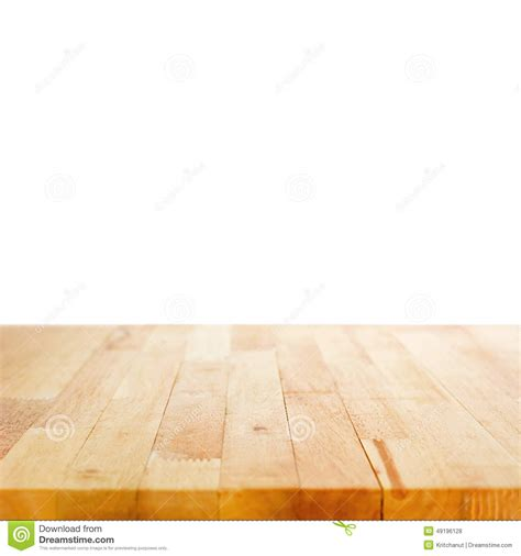 white table with wood top wood table top on white background stock photo image