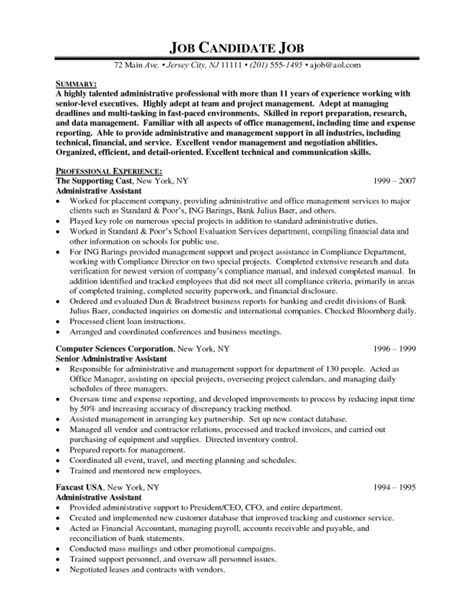 Resume Sle Of Administrative Assistant by Exles Of Administrative Assistant Resumes Sles Of Resumes