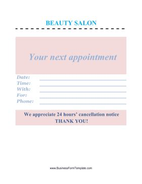beauty salon appointment template
