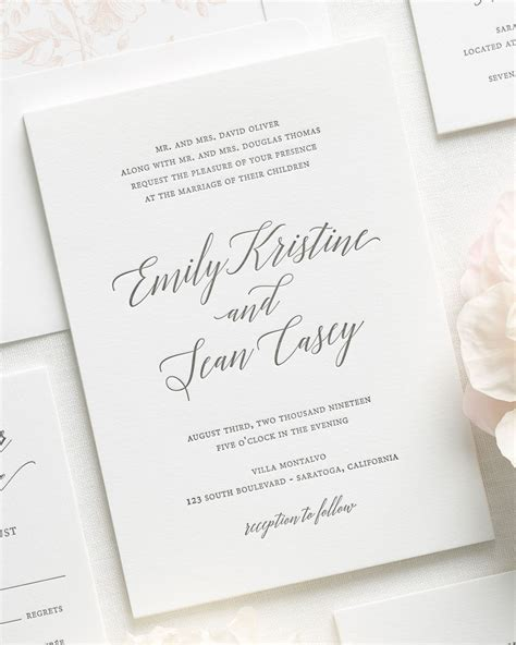 Wedding Invitation Letterpress by Garden Letterpress Wedding Invitations