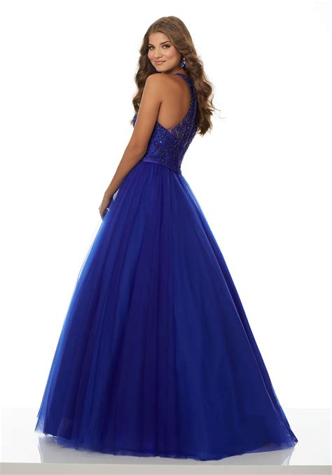 Dress Nets soft net prom dress with intricately beaded bodice and racer back style 42095 morilee