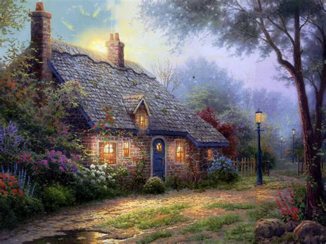 cottage paintings by kinkade i want to live in your paintings amanda s camelot