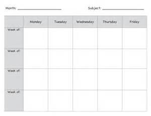unit calendar template monthly lesson plan template pinteres