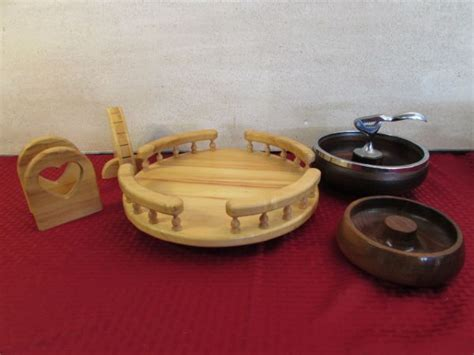 Wooden Lazy Susan Handmade - lot detail handmade wooden lazy susan napkin holder