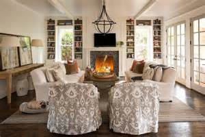 Living Room Side Ls Plank Fireplace Flanked By White Built In Bookcases
