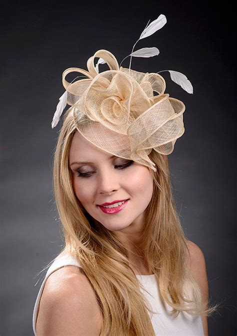 beige chage gold fascinator hat for weddings ascot