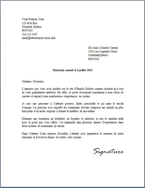 Exemple De Lettre De Motivation Québec Lettre De Motivation Exemple Employment Application