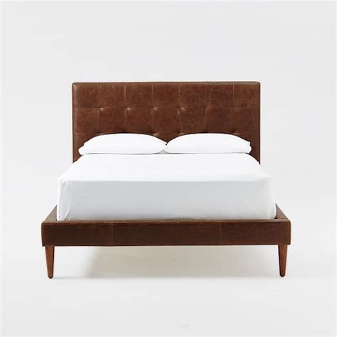 grid tufted headboard tapered leg low king leather