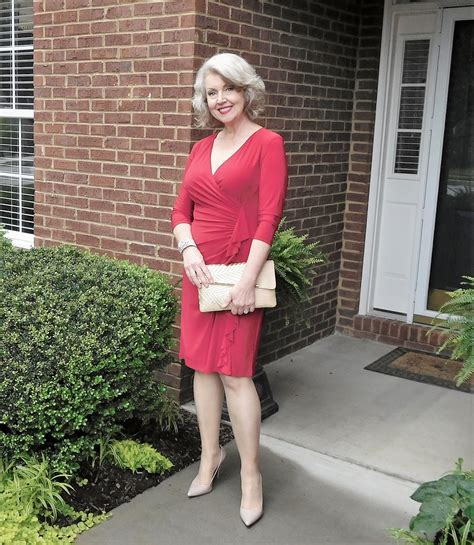 a well dressed 50 year old woman fifty not frumpy circle of red luncheon