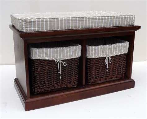 wicker storage benches wooden storage bench with wicker baskets