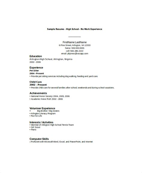 High School Student Resume Templates No Work Experience by 10 High School Student Resume Templates Pdf Doc Free