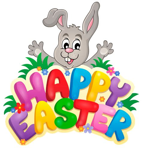 easter clipart transparent happy easter with bunny clipart picture